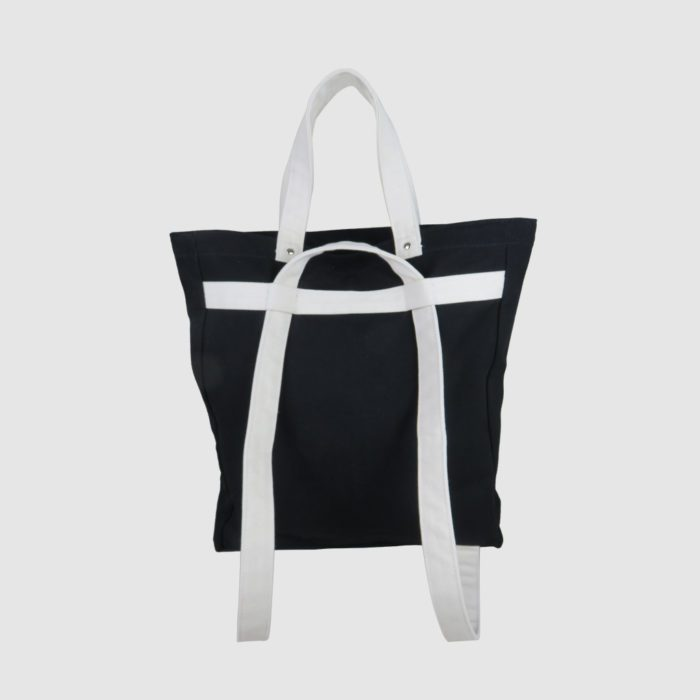 canvas backpack tote bag in black and white