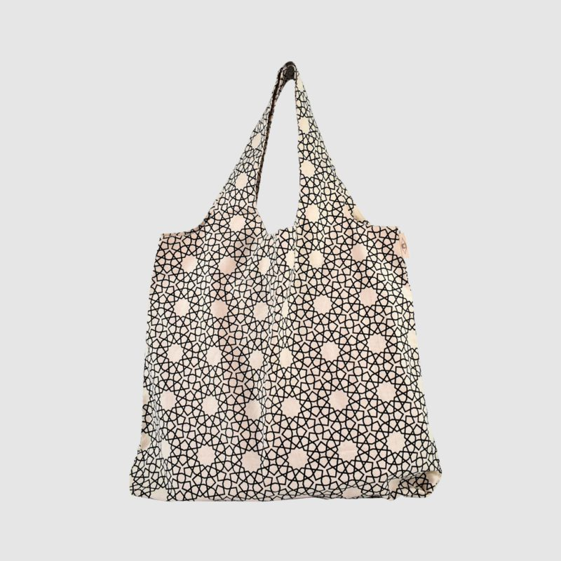 Eco cotton foldable shopping bag with black print on natural
