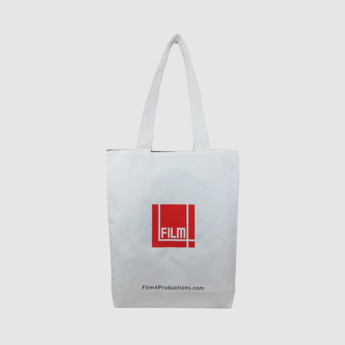 white tote bag with black lining