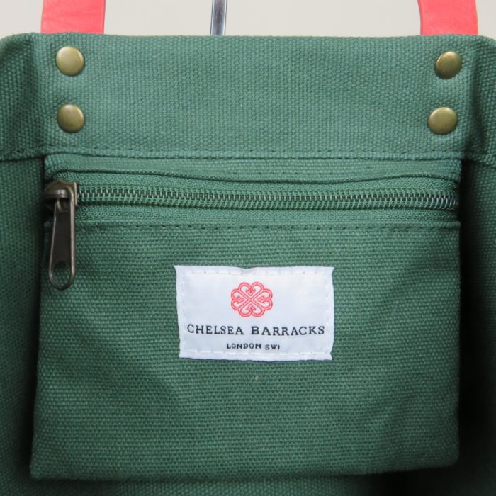 custom premium tote bag with inside handing pocket and woven label