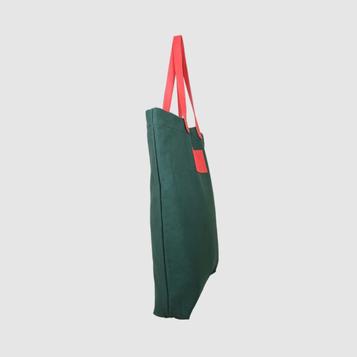 custom premium tote bag side view in green with pink handles