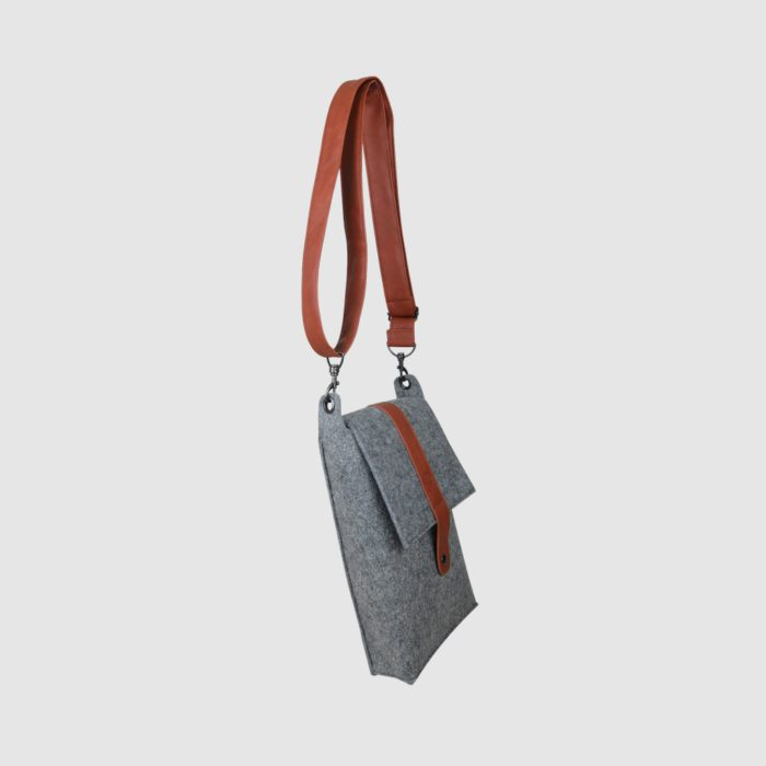 custom product packaging grey felt bag with PU leather strap