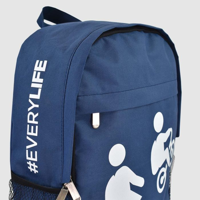 printed backpack in navy blue with white screen print and silver metal zips