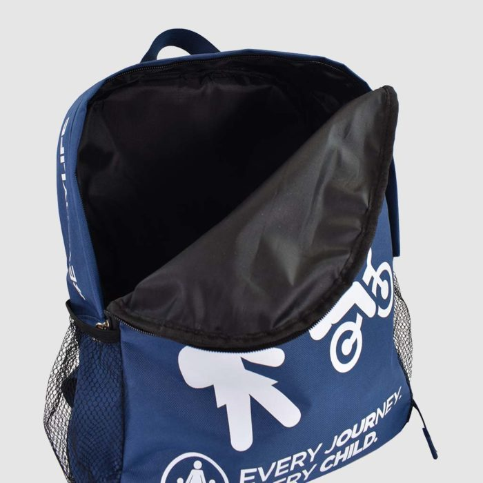 printed backpack open with black inside lamination