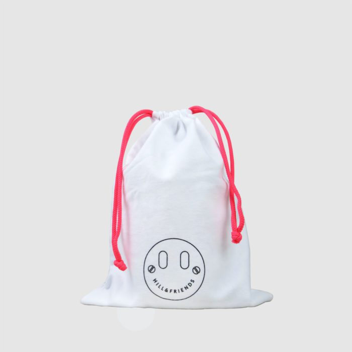 dust bag for luxury product in white with neon pink draw cord