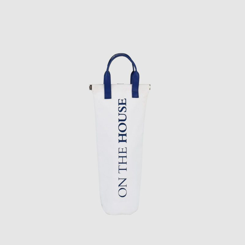 custom bottle bag in white canvas with PU blue handles and logo print