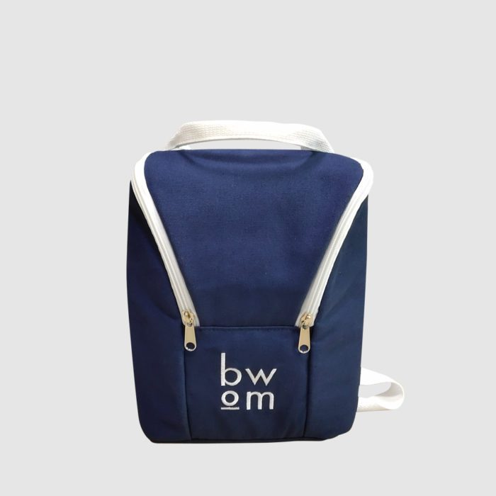 custom cool bag in navy with white embroidery and adjustable back pack straps