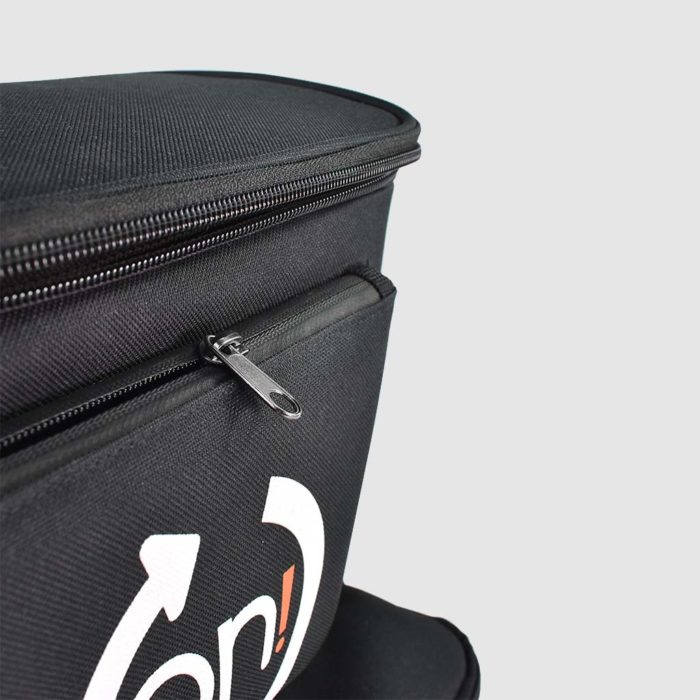 Fabric product presentation backpack with waterproof zips