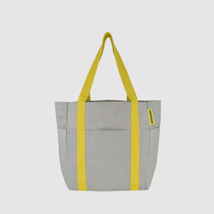 Customised shopper bag Pantone matched grey with yellow handles