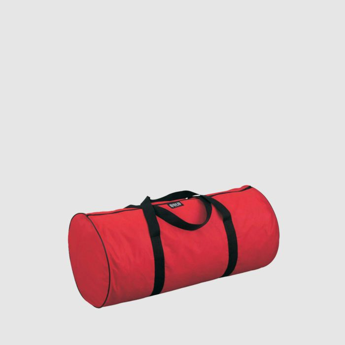 personalised barrel bag in red canvas with black handles