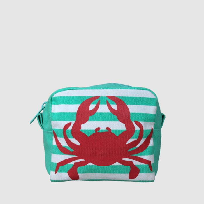 custom cosmetic bag with green and white stripe and red crab print