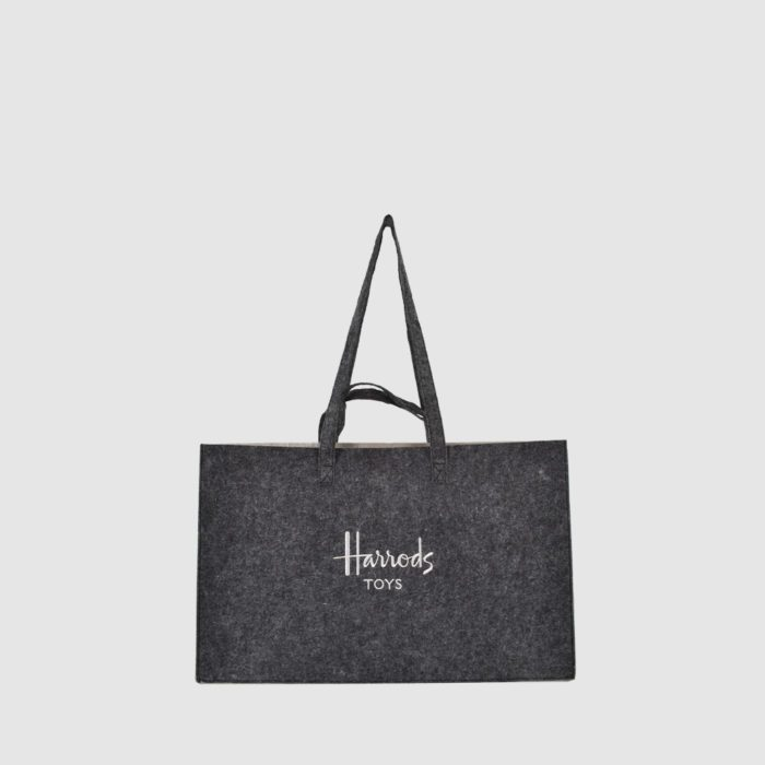 felt bag in grey with Harrods embroidery