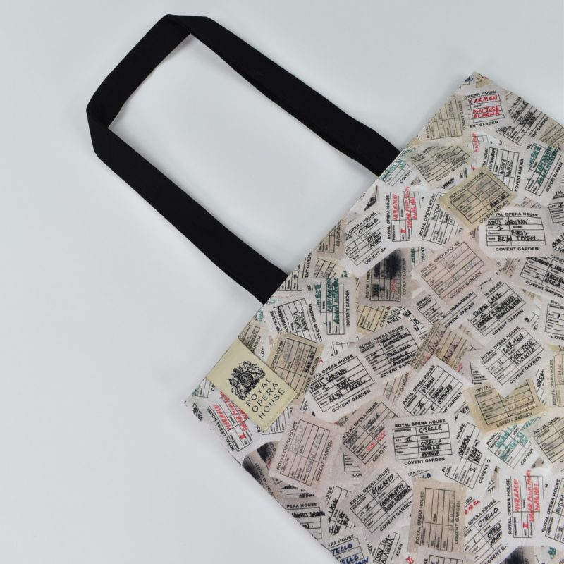 branded theatre gifts for Royal Opera House digital print on tote bag with black handles