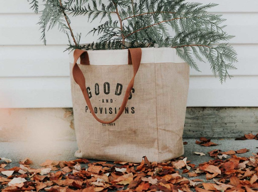 sustainable fabric bag with green fern