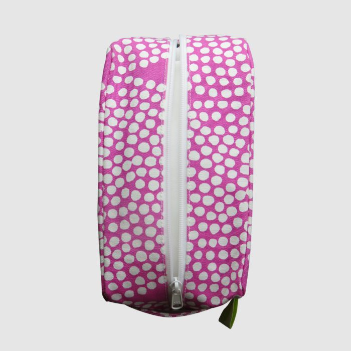 Custom cosmetic pouch all over pink print and while dots