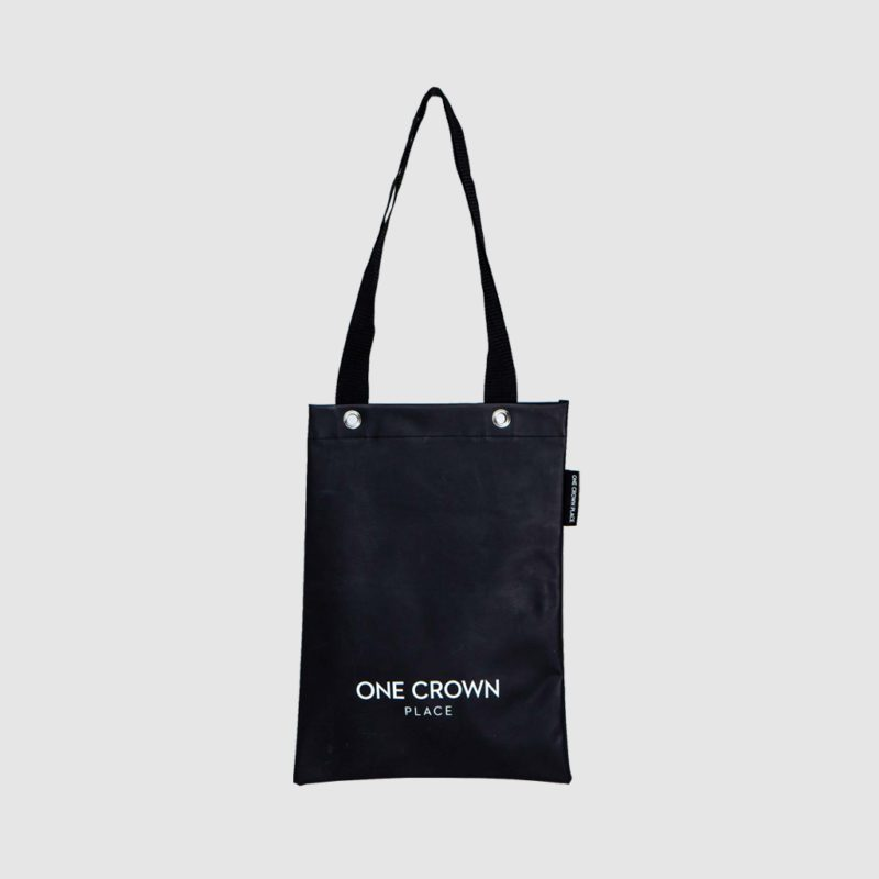 contemporary custom tote bag in black PVC