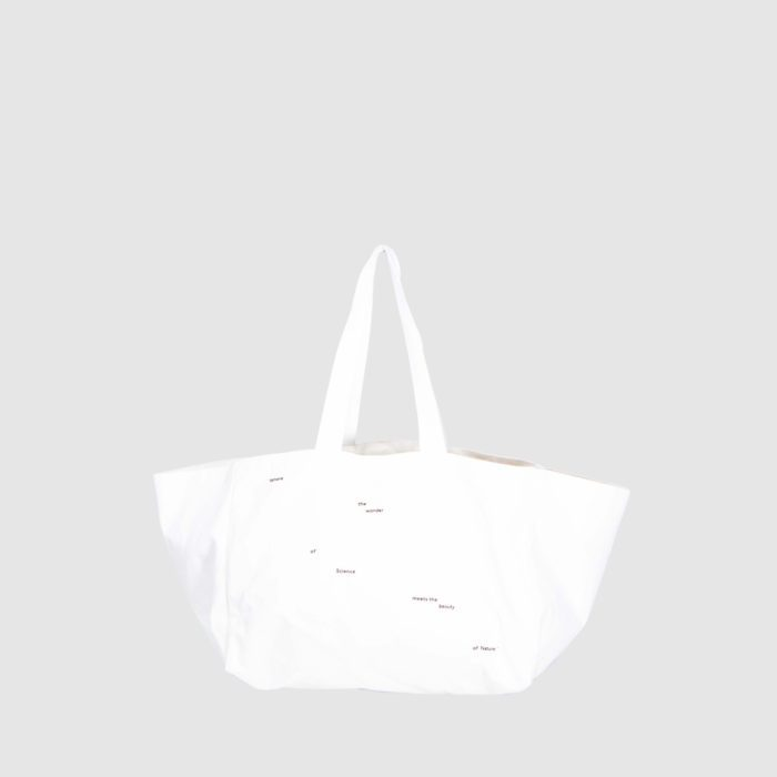 personalised beach bag in white with white print