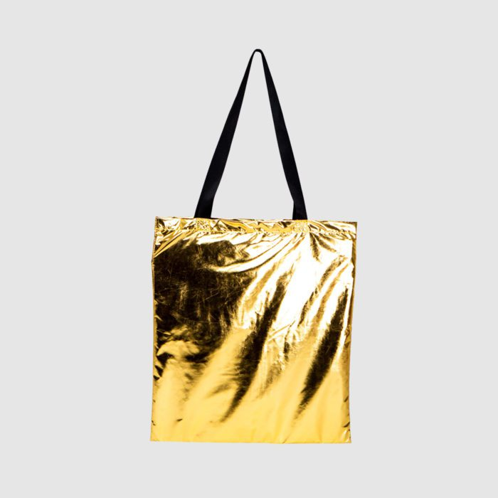 Custom metallic tote bags with long handles, in gold and silver