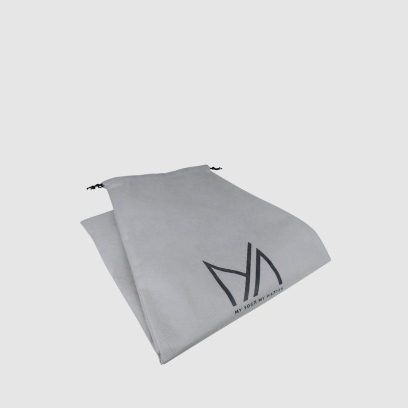 Sustainable yoga product packaging grey non-woven PP drawstring for repeat use