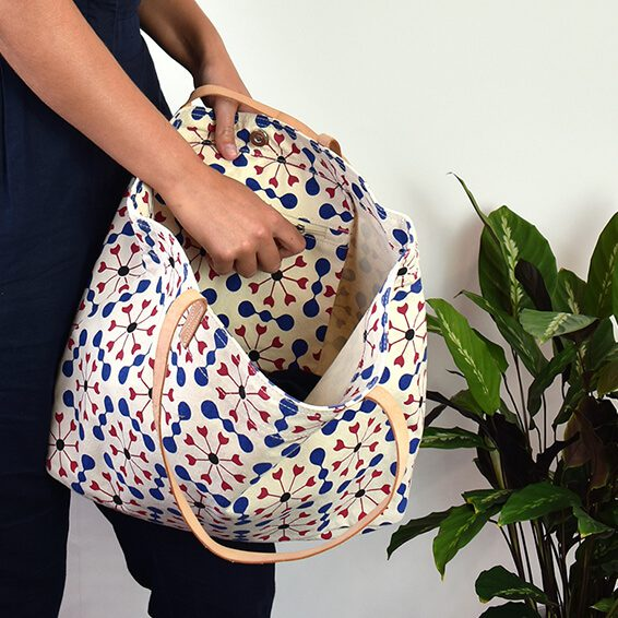 bespoke tote bag with real leather handles