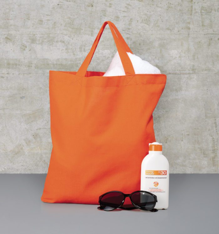 Custom tote shopper with short handles and orange embroidery