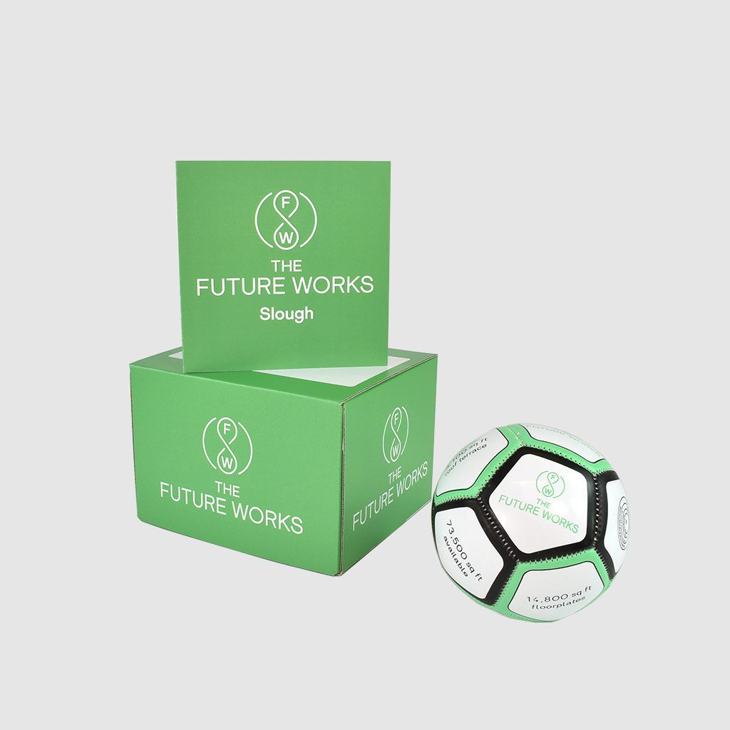 green printed box with branded football employee engagement gifts